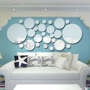 Anself Acrylic Polka Dot Wall Mirror Stickers Art Mural DIY Decals for Home Party Decoration pack of 26pcs