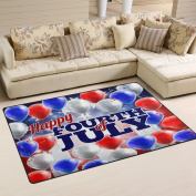 WOZO Happy American Flag Independence Day 4th July Balloon Area Rug Rugs Non-Slip Floor Mat Doormats for Living Room Bedroom 80cm x 50cm