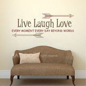 BATTOO Live Laugh Love Wall Decal - Live every moment Laugh every day Love beyond words Vinyl Wall Decal Wall Words Living Room Inspirational Quote