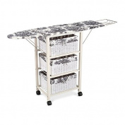 Black White Toile Pattern Ironing Board Centre Iron Station Laundry With Storage Baskets