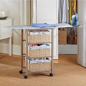 French Script Pattern Ironing Board Centre Iron Station Laundry With Storage Baskets