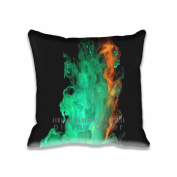 Square 50cm x 50cm Zippered Red Green Smoke Art Texture Pillowcases Digital Print Adults Kids Cushion Covers