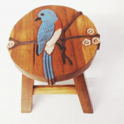 Bluebird Hand Carved Acacia Hardwood Decorative Short Stool