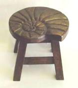 Nautilus Shell Stain Design Hand Carved Acacia Hardwood Decorative Short Stool