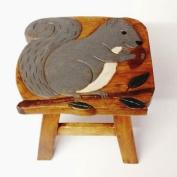 Squirrel Design Hand Carved Acacia Hardwood Decorative Short Stool
