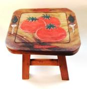 Veggies Design Hand Carved Acacia Hardwood Decorative Short Stool