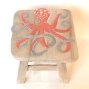 Octopus Design Hand Carved Acacia Hardwood Decorative Short Stool
