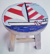 Sailboat Design Hand Carved Acacia Hardwood Decorative Short Stool