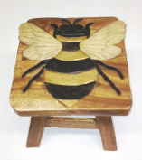 Bumble Bee Hand Carved Acacia Hardwood Decorative Short Stool