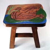 Frog Lillypad Design Hand Carved Acacia Hardwood Decorative Short Stool