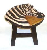 Zebra Design Hand Carved Acacia Hardwood Decorative Short Stool