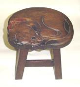 Sleepy Dog Design Hand Carved Acacia Hardwood Decorative Short Stool
