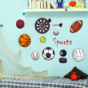 Sports Theme Wall Stiker For Kids Boys Childrens Bedroom, Nursery, Playroom, Peel and Stick Eviromental Wall Decal Home Decoration