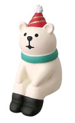 Polar bear with party hat green scarf sitting down Christmas figurine Japan