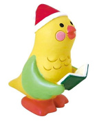 Bird with Santa hat book Christmas figurine Japan