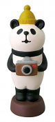 Panda with cap camera Christmas figurine Japan