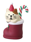 Stocking with cat with Santa hat candycane Christmas figurine Japan