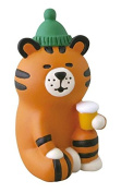 Tiger with cap and drink Christmas figurine Japan