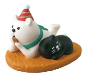 Polar bear with party hat and cat Christmas figurine Japan