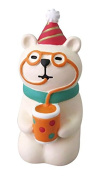 Polar bear with drink hat green scarf sitting down Christmas figurine Japan
