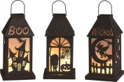 Halloween LED Laterns, Set/3 Assorted Styles - Boo, Black Cat, Wicked Witch