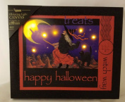 Happy Halloween Witch Way Flickering Light Canvas Display Lights Up Wicked Witch