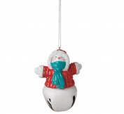 8.9cm Glittered Snowman with Red Coat Jingle Bell Christmas Ornament