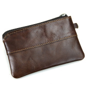 Fmeida Mens Leather Coin Pouch Purse Slim Zipped Wallet