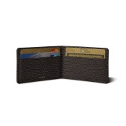 Lucrin - Twin-fold Case for 4 cards - Brown - Granulated Leather