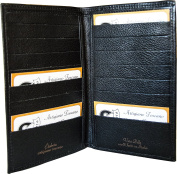 Leather credit card holder - Leather document wallet - Black - Made in Italy