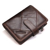Contacts Mens Genuine Leather Bifold Trifold Card Holder Zipper Coin Purse Wallet Dark Blue