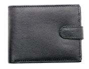 RAS® Mens Soft black genuine leather wallet credit card, note pocket coin purse