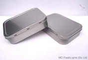 2 x 60ml SILVER TOBACCO/SURVIVAL KIT TIN WITH RUBBER SEAL