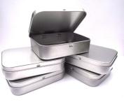 5 x Silver Hinged Tobacco/Survival/Storage Tin