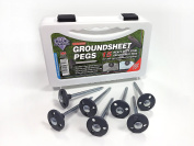Blue Diamond Heavy Duty Steel Metal Tent Awning Groundsheet Pegs- Box Of 15