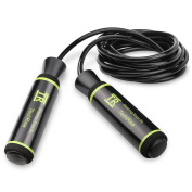 Skipping Rope,TechRise Speed Skipping Jump Jumping Rope with Skin-friendly Handle and Adjustable Soft Rope for Fitness Workouts Fat Burning Exercises and Boxing - Black