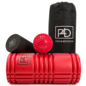 Foam Roller rumble 2 in 1 Set with Massager Ball for Deep Tissue Sports Massage / Muscle Tension & Mysofascial Release. Triggerpoint Rollers with Grid Design for Aching Back and Leg Muscles Relaxation Therapy. Knobby / Eva & Epe roller Plus Bonus Trave ..