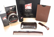 GBS Sandalwood Groomed Beard Set- Beard balm and Oil, Moustache Comb, Dressing Comb and 4-sided Wood Comb