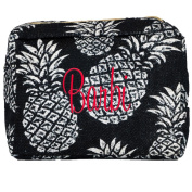Personalised Jute Black and White Pineapple Cosmetic Bags