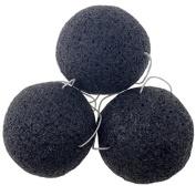 Konjac Natural Facial Sponge, J-Mee 3 Pcs Activated Bamboo Charcoal Exfoliating Facial Cleansing Sponges