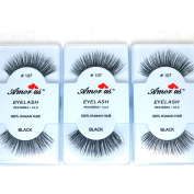 3 Pairs AmorUs 100% Human Hair False Long Eyelashes # 107 + FREE EARRING