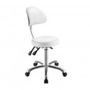 White Flat Seat Esthetician Stool With Wide Backrest USA Salon and Spa Lolli SB USA-1025B