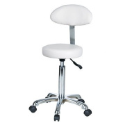 White Round Seat Curved Back Esthetician Technician Stool With Metal Base USA Salon and Spa Button + 1023AB2