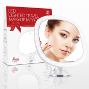 Miusco LED Lighted 7X Magnifying Makeup Mirror, 22cm Cordless Portable Vanity Mirror with Locking Suction Travel Mirror