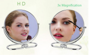 J-Beauty 15cm Tabletop Two-Sided 1X/3x Magnification 360°Swive Makeup Mirror