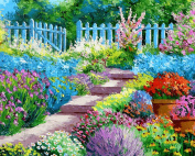 Prime Leader Wooden Framed Diy Oil Painting, Paint by Number Kit 41cm x 50cm Beautiful scenery of Garden