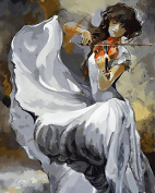 Prime Leader Wooden Framed Diy Oil Painting, Paint by Number Kit 41cm x 50cm The girl playing the violin 1