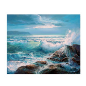 Awakingdemi 5D Diamond Painting ,Sea Waves DIY Rhinestones Cross Stitch Painting Craft DIY Home Decor