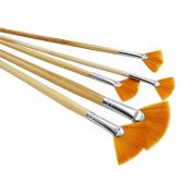 5Pcs/Set,fan-Shaped Nylon Hair short Wood Rod brush painting Drawing Supplies