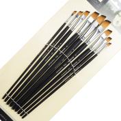 9 Pieces Artist Paint Brushes Nylon Angled Flat Paint Long Handle Value Set for Oils, Acrylic, Gouache & Watercolour Painting-Lightwish